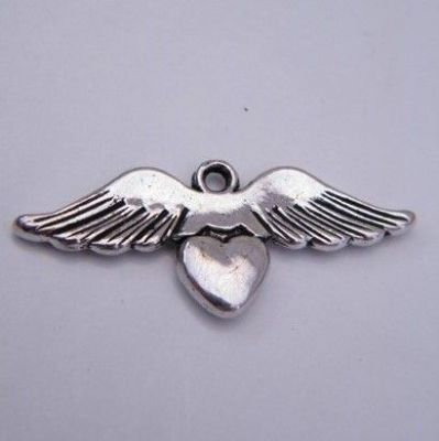 Angel Wings With Heart Personalised Wine Glass Charm - Full Sparkle Style